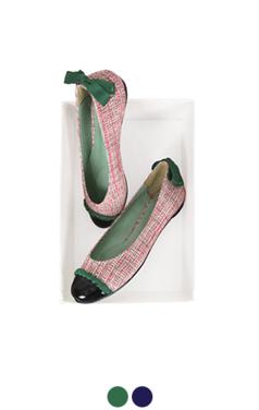 tweed cap-toe flats