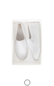 white leather patchwork slipon