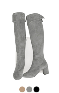 "back-slit suede thigh high boots <br> (3 colors) <br> <font color=#82C7E4 size=""1.9"" face=verdana>COLOR ADD</font>"