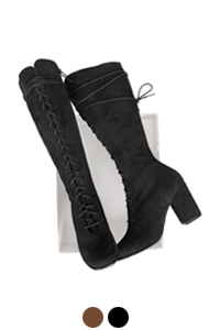 "lace-up suede boots <br> (2 colors) <br> <font color=#82C7E4 size=""1.9"" face=verdana>COLOR ADD</font>"