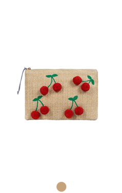 crochet pompom cherry clutch
