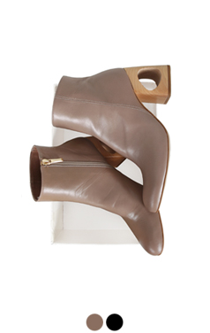 artitstic wooden-heel ankle boots