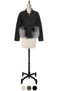 fox-fur embellished light puffer