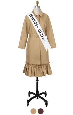 ruffle-hem single breasted trench coat
