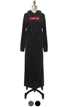 fragile velvet hoodie dress
