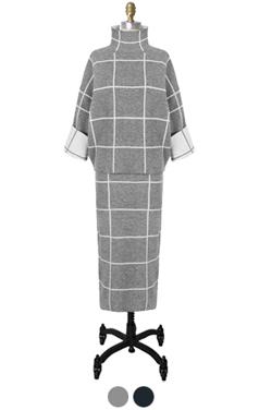 windowpane check knitted 2pcs