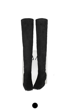 stretch suede thigh-high boots