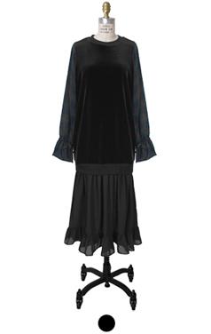 velvet and chiffon dress