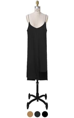 woolen asymmetric hem slip dress