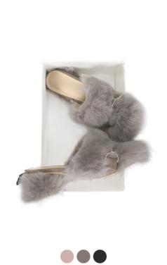 rabbit fur heel slippers