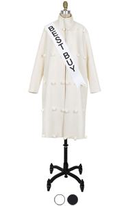 pompom high-neck coat <br> (2 colors)