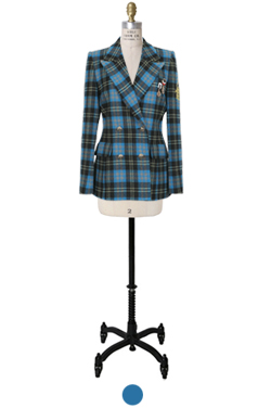 blue scottish check mili-jacket