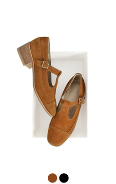 french suede t-strap pumps