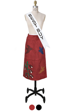 patchwork faux-suede skirt