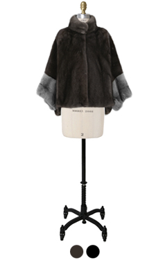 cross mink cape coat