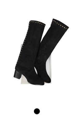 studded suede long boots