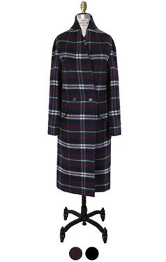 checkcheck shawl collar coat