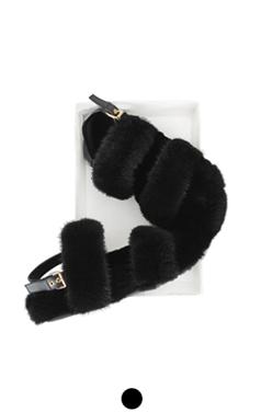 mink fur embellished sandals