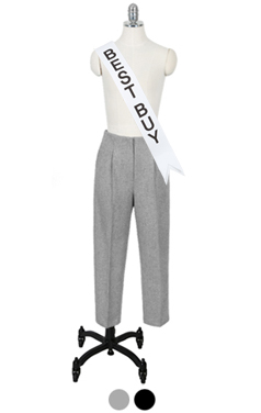wool blend tapered crop pants
