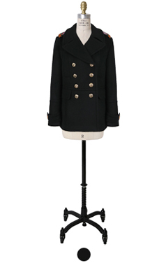 beaded black peacoat