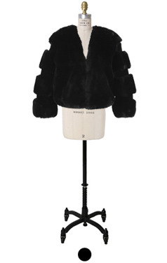 zet black faux-fur crop jacket