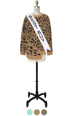 unbalance-hem leopard sweater