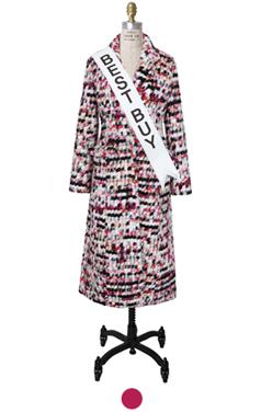 """pompom carpet coat <br> <font color=#82C7E4 size=""""1.9"""" face=verdana>SIZE ADD</font>"""