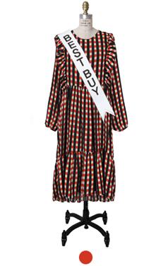 tomato plaid negligee dress