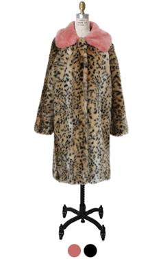 color collar faux-leopard coat