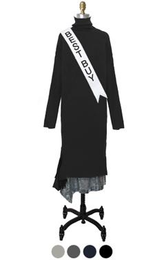 sequin skirt layered turtleneck dress