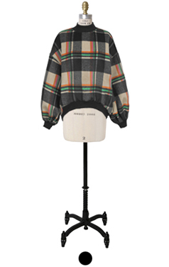 color plaid blouson sleeve top