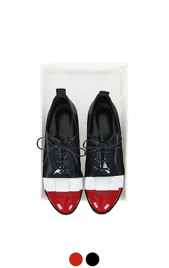 color-block bow oxford flat