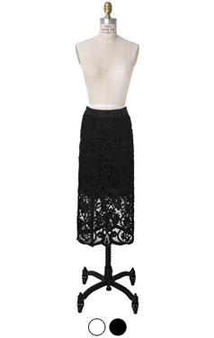 flower lacy midi-skirt