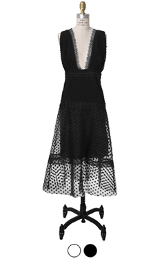 mesh embellished dot dress