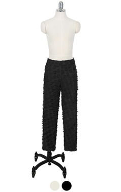 "fringe texture trousers <br> <font color=#82C7E4 size=""1.9"" face=verdana>COLOR ADD</font>"