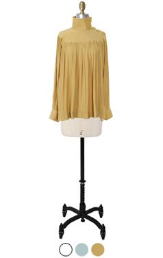 "asymmetric fold-collar blouse <br> <font color=#82C7E4 size=""1.9"" face=verdana>COLOR ADD</font>"