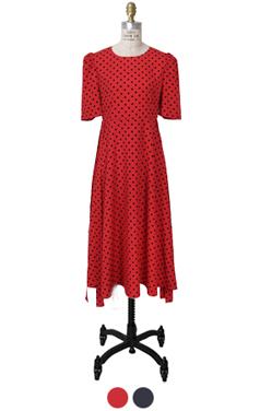 puff-sleeve dot dress
