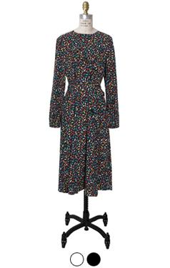 printed pleats-trim dress