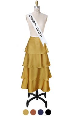 satin tiered maxi skirt