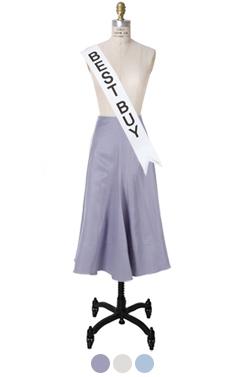 """stitched hem flared skirt <br> <font color=#ff9999 size=""""1.9"""" face=verdana>BEST BUY</font>"""
