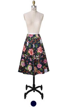 Oriental printed flare skirt