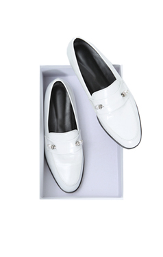 white pearly french loafer