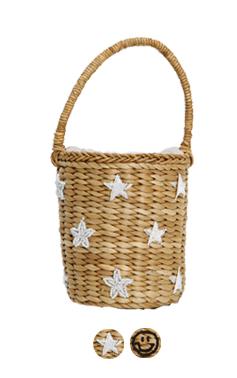 beads embellished raffia bag