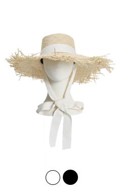 frayed brim raffia hat