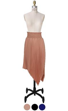 smoke-waist pleats skirt