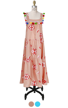 pompom embellished tiered dress