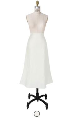 silk blended linen skirt