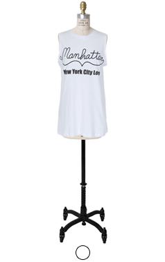 slogan printed sleeveless tee